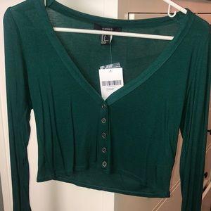 Button up knit crop long sleeve tee hunter green